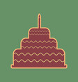 cake with candle sign cordovan icon and vector image vector image