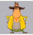 cartoon funny man sheriff in a hat vector image