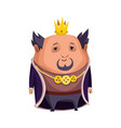 cartoon king wearing crown and mantle fat king vector image vector image