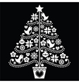 Christmas tree design - folk style on black vector image vector image
