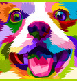 close up face happy dog vector image