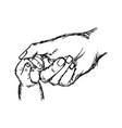 close-up hand of baby and mother holding together vector image vector image