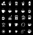 Coffee icons on black background vector image vector image