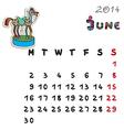 color horse calendar 2014 june vector image vector image