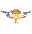 cowboy wooden board character cartoon vector image vector image