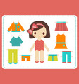 cute female paper doll with variety bright vector image