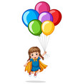 cute girl and colorful balloons vector image vector image