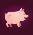 cute pink piglet with stars on his back vector image vector image