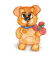 cute puppy a bouquet of flowers watercolor vector image vector image