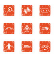 figure robot icons set grunge style vector image vector image