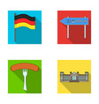 flag symbol germany and other web icon in flat vector image vector image