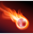 Flying flaming ball on dark background vector image vector image