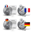 globes with map marker and state flags germany vector image vector image