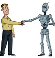 handshake man and robot vector image