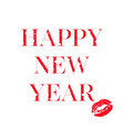 happy 2019 phrase with a red lipstick vector image vector image