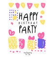 happy birthday party colorful template with date vector image vector image
