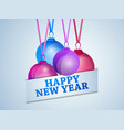 happy new year 2020 hanging christmas balls with vector image vector image