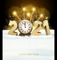 happy new year background with 2021 and fireworks vector image