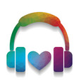 headphones with heart colorful icon with vector image vector image