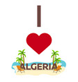 i love algeria travel palm summer lounge chair vector image vector image