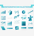 infographics collection blue graph vector image vector image