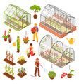 isometric 3d greenhouse icon set vector image vector image