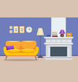 living room modern interior - a sofa with a vector image vector image