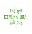 logo 100 natural with leaves natural product vector image vector image