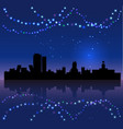 madrid silhouete and chritsmas lights vector image vector image