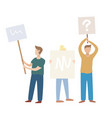 male and female protesters or activists standing vector image vector image