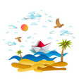 origami paper ship toy swimming in ocean waves vector image