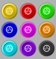 pulse Icon sign symbol on nine round colourful vector image vector image