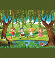 raining scene with kids in forest vector image vector image