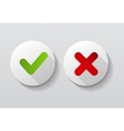 Red and Green Check Mark Icons Button vector image