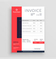 red business invoice template design vector image