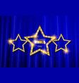 retro light sign three gold stars vector image vector image
