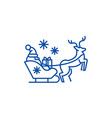 santa claus in a sleigh with a deer line icon vector image