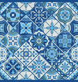 seamless patchwork tile in blue gray and green vector image