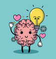 set kawaii brain with knowledge education vector image