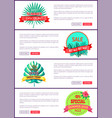 set posters online push button discount off summer vector image vector image