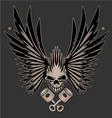 Skull Wings and Crossed Pistons vector image