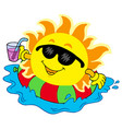 sun with drink in water vector image