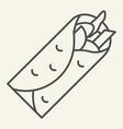 taco thin line icon mexican food vector image