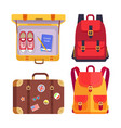 travel book in luggage set vector image vector image