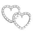 two hearts love card vector image vector image