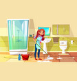 woman cleaning bathroom vector image vector image
