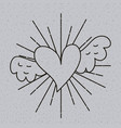 outline heart love with wings tattoo decoration vector image