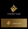 square check mark digital gold logo vector image