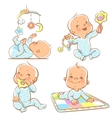Cute little babies with different toys vector image