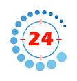 24 hours open round vector image